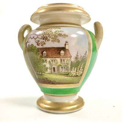 An Ovoid Handpainted Vase With Topographical Scene C.1825. Probably Worcester. • 65£