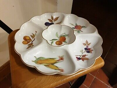 Royal Worcester Evesham Gold Hors D'Oeuvres 6 Section Serving Dish • 14.50£