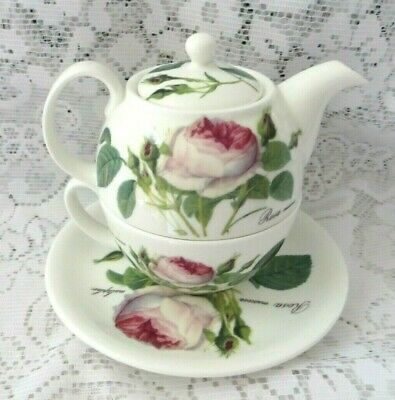 Roy Kirkham Bone China Redoute Roses Tea For One Teapot & Cup & Saucer Set  • 12£