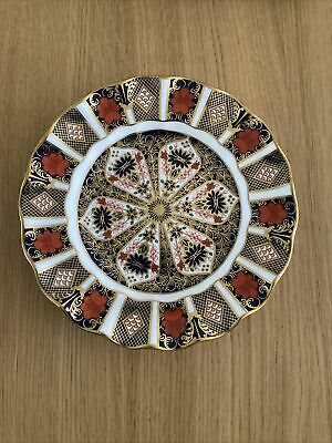 ROYAL CROWN DERBY IMARI 1128 FLUTED DESSERT PLATE SOLID GOLD BAND - 8.5  22cm • 62.50£