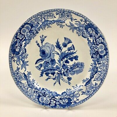 Early 19thc. Blue & White Spode Plate   Union Wreath First   • 27£