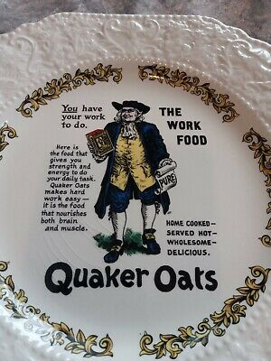 Quaker Oats Plate Victorian Advertising  Old Advert Plate Lord Nelson Pottery • 4£