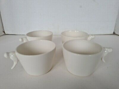 4 Cups / Mugs With Bird Handles By K & D • 7.99£