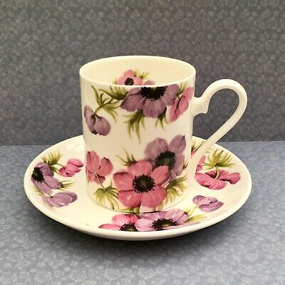 Roy Kirkham Anemone Coffee Cup & Saucer Pink Purple Floral Fine Bone China 1992 • 12£