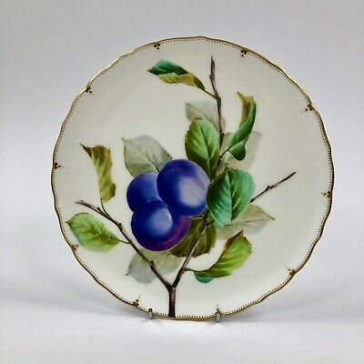 Superb Late 19thc. (1874-91) George Jones Crescent Plate. Hand Painted Plums P#2 • 105£