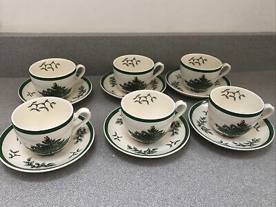 Spode Christmas Tree 6 X Cups And Saucers • 45£