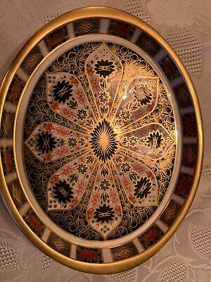 """Royal Crown Derby Small Platter Old Imari 1128 1st Quality GOLD BAR 7"""" X 6"""" OVAL • 50£"""