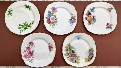 JOB LOT X5 PRETTY ROYAL VALE CHINA SIDE PLATES - VINTAGE FLORAL COTTAGE GILDED D • 12£