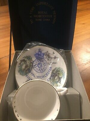 Royal Worcester, To A Very Important Person, Fly Fishing, Cup And Saucer, In Box • 5.50£
