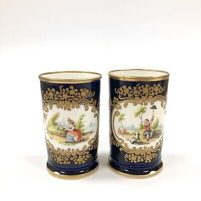 A Pair Of Early 19thc (c.1820) Chamberlain Worcester Hand Painted Spill Vases • 145£