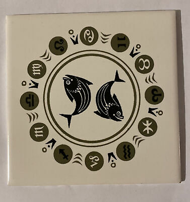 Poole Pottery Signs Of The Zodiac Tile - Pisces • 4.99£