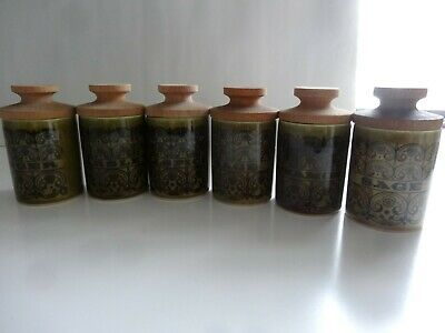 Hornsea Pottery Green Small Spice Pots • 15£