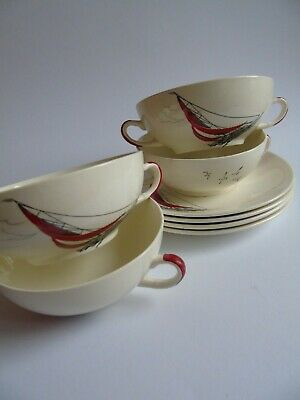 4 Vintage Palissy 'Red Regatta' Soup Bowls And Stands • 20£