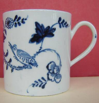Liverpool Porcelain Coffee Can Blue & White Bird 18thc • 50£