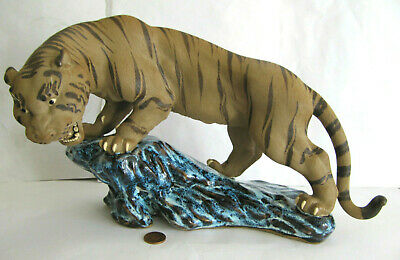 Vintage Chinese Shiwan Mudman 12  Blue Flambe Tiger On Rock Figurine Ornament • 39.99£