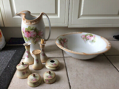 Lovely Burleigh Ware Large Wash Stand Jug & Bowl Set + Pots, Candlesticks Etc. • 9.99£