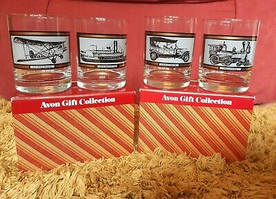 Avon Gift Collection 4 Glasses America On The Move 22ct Gold Trim • 30£