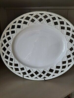 HARTLEY-GREENS & Co LEEDS CREAMWARE LATTICE WORK OVAL SERVING PLATE 12.5/33CM • 18£