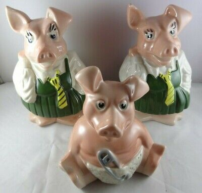 3X Natwest Pigs (Woody & 2x Annabel) With Stoppers • 20£