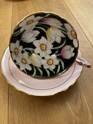 Vintage Paragon China Floral Cup And Saucer Royal Internal Flowers • 17£
