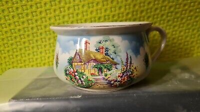 Authentic Vintage English Falcon Ware - Chamber Pot Holly Hocks And Cottage  • 45£