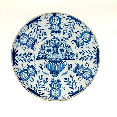 A Very Large Floral Painted Mid 18thc. Dutch Delft Charger C.1750-60 • 79£