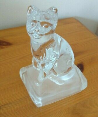Pretty Cristal D'Arques Lead Crystal Cat On Cushion Paperweight  • 12£
