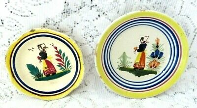 Vintage Hb Quimper French Faience Breton Lady Pin Dishes Tin Glazed Majolica  • 16£