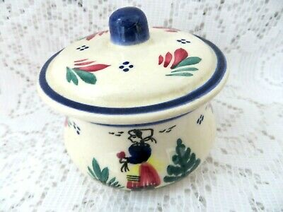 Small Old Hp Quimper French Faience Pot & Lid Breton Lady Tin Glazed Majolica  • 15£