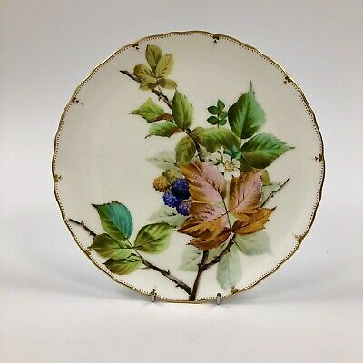 Superb Late 19thc.(1874-91) George Jones Crescent Plate-Hand Painted Berries P#4 • 105£