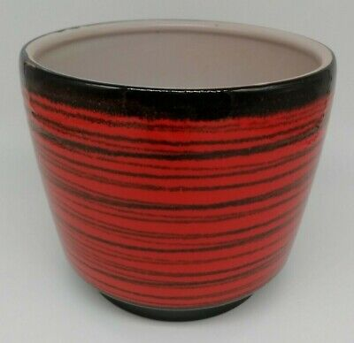 Vintage 1960s Wachtersbach Rio Mid-Century West German Red Ceramic Plant Pot • 20£