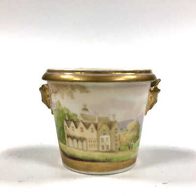 An Early 19thc. Small Porcelain Vase Painted With Topographical Scenes C.1825 • 95£