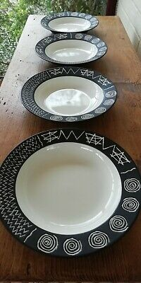 4 Habitat Japan 'Scraffito' Pasta Or Wide Rimmed Soup/Cereal Bowls - PERFECT!  • 75£