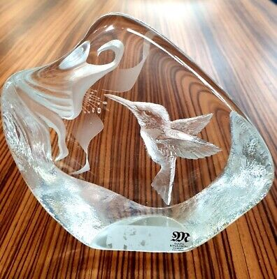 Mats Jonasson Glass Paperweight Sculpture 'Kingfisher' Large Size And Signed. • 5£