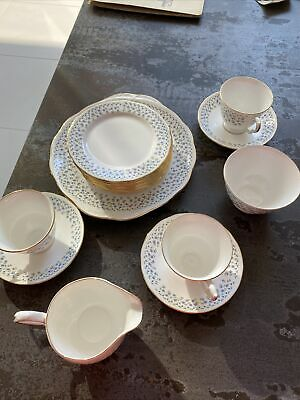 Queen Anne Vintage China Tea Set In Pretty Forgetmeknot Pattern • 10£