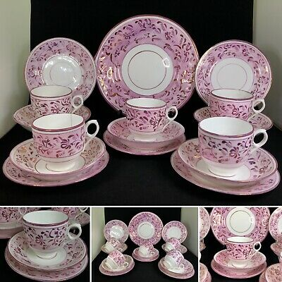 Antique Mid 1800's Staffordshire Pink Lustre Porcelain 16 Piece Tea Set— 5x Trio • 54.99£