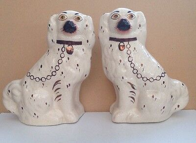 Vintage Flat Back Pottery Dog Pair • 44.95£
