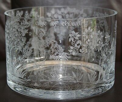 "Beautiful Etched  Age Of Chivalry  Bristol Commemorative 7"" Crystal Glass Bowl • 37.49£"