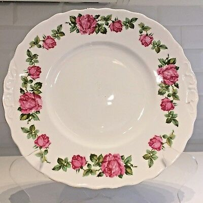 Vintage Bone China Cake Plate Bright Pink Roses Eared Bread & Butter Royal Vale • 8£