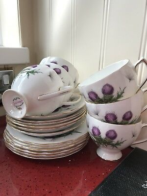 Rare Colclough Bone Chine Purple Thistle  18 Piece Tea-set • 50£
