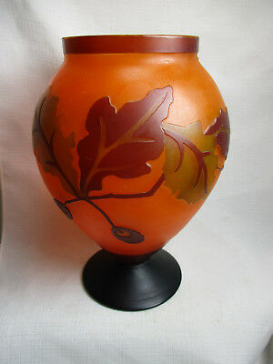 Gorgeous Vintage Hand-Etched CAMEO GLASS VASE With Leaves - Unsigned - EXCELLENT • 135.32£
