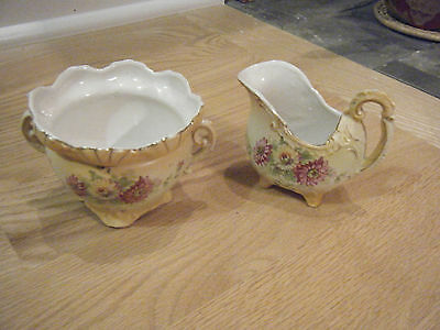 Antique Hand Painted Creamer & Sugar Bowl Set, Austria • 19.13£