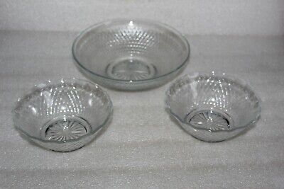 Chance Glass Gossamer Pattern Large Fruit Bowl & Two Smaller Dishes  • 3.99£