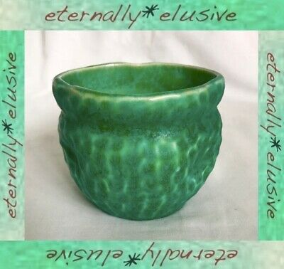 Antique Vintage Arts & Crafts Green BRETBY Pottery Thumbed Dimpled Vase Pot Bowl • 35£