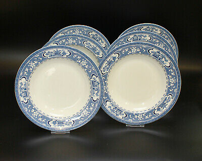 Attractive Set Of Six Maling Oriental Blue & White Soup Plates Bowls • 65£