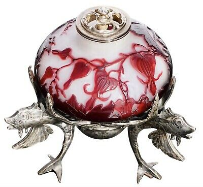 Emile Galle Cameo And Silver Fish Boudoir Lamp • 2,855.86£