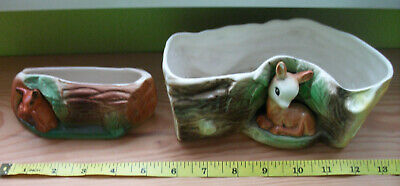 2 Withernsea Eastgate Pottery Fawn Log Ornaments A/F • 4£