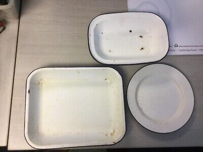 Three (3) Enamelled Roasting Trays And Plate White With Blue Detail • 10£