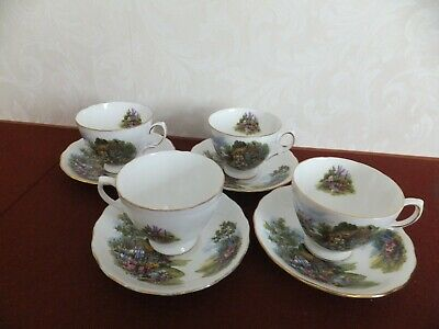 Royal Vale Country Cottage Bone China Cup And Saucer  X 4 • 12.95£