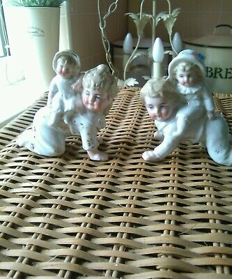 Piano Baby Huebach German Bisque Piggy Back Figurines.(2) Lovely  Condition..£35 • 35£